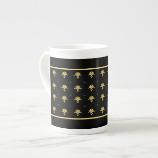 Luxury Black and Gold Vintage Damask Pattern Tea Cup