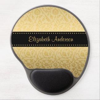 Luxury Black and Gold Vintage Floral Damask Gel Mouse Pad