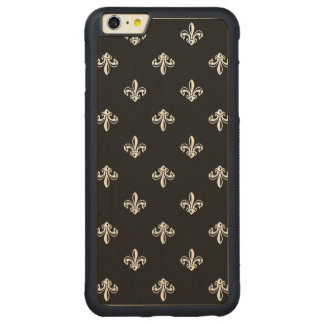 Luxury Black and White Fleur-de-lis Pattern Carved Maple iPhone 6 Plus Bumper Case
