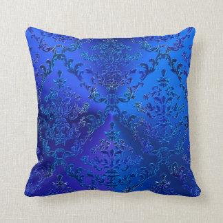 Luxury Blue Damask Elegant Throw Pillow