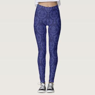Luxury blue floral damask wallpaper leggings