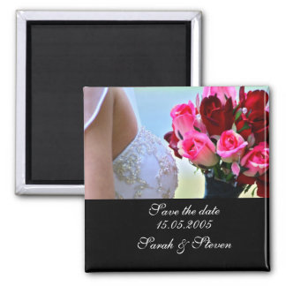 Luxury Bride Bouquet Wedding Photo Save the date Magnets