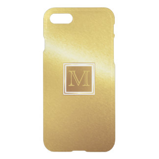 Luxury Brushed Gold Metal with Monogram iPhone 8/7 Case