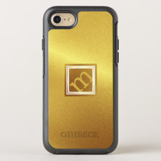 Luxury Brushed Gold with Framed Angled Monogram OtterBox Symmetry iPhone 8/7 Case