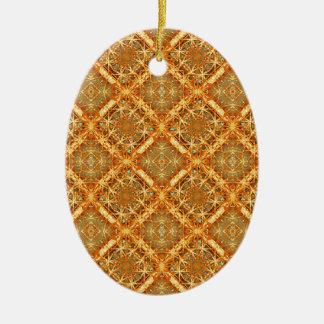 Luxury Check Ornate Seamless Pattern Ceramic Oval Ornament