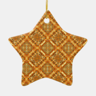 Luxury Check Ornate Seamless Pattern Ceramic Star Ornament