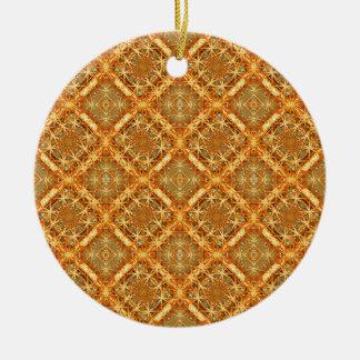 Luxury Check Ornate Seamless Pattern Round Ceramic Ornament