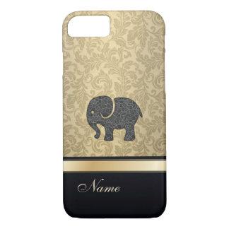 Luxury classy damask vintage elephant monogram iPhone 7 case