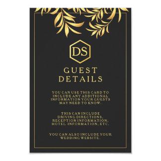 "Luxury Dark White Golden Leaves Guest Details Card 3.5"" X 5"" Invitation Card"