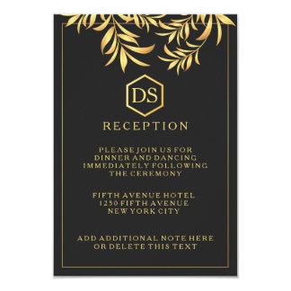 """Luxury Dark White Golden Leaves Wedding Reception 3.5"""" X 5"""" Invitation Card"""