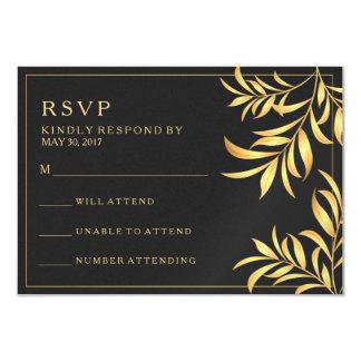 "Luxury Dark White Golden Leaves Wedding RSVP Card 3.5"" X 5"" Invitation Card"