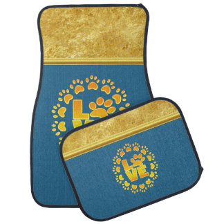 Luxury decoration dog paw print gold and blue car mat