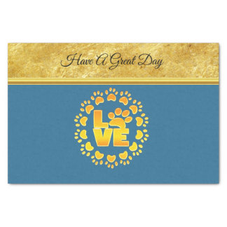 Luxury decoration dog paw print gold and blue tissue paper