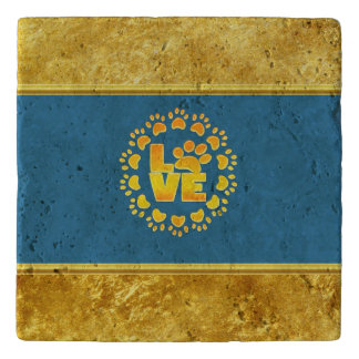 Luxury decoration dog paw print gold and blue trivet
