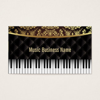 Luxury Diamond Pattern Piano Lessons Business Card