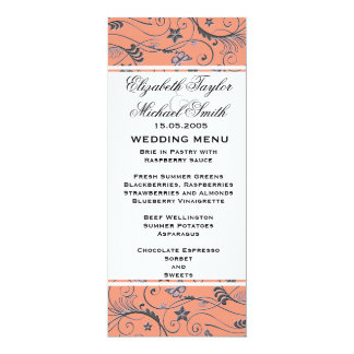 """Luxury Elegant Coral Floral Swirls Wedding Menu 4"""" X 9.25"""" Invitation Card"""