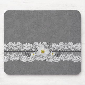 Luxury Elegant Grey Lace Mousepad