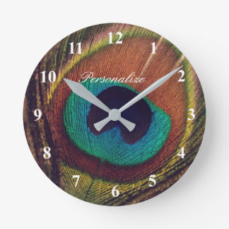 Luxury elegant peacock feather eye photo custom round clock