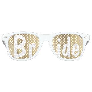 Luxury faux gold leaf wedding Bride Retro Sunglasses