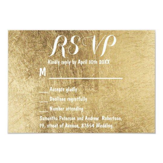 Luxury faux gold leaf wedding RSVP Card