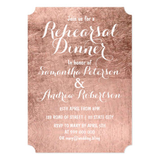 Luxury faux rose gold leaf rehearsal dinner card
