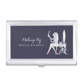 Luxury FAUX Silver Woman Makeup Artist Red Shoes Business Card Holder