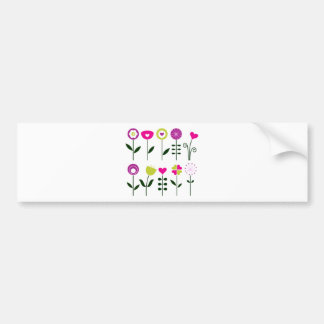 Luxury folk Flowers on white Bumper Sticker