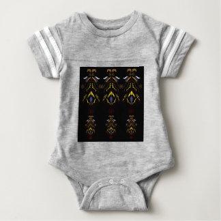 Luxury folk mandalas on black baby bodysuit