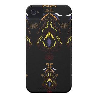 Luxury folk mandalas on black Case-Mate iPhone 4 cases