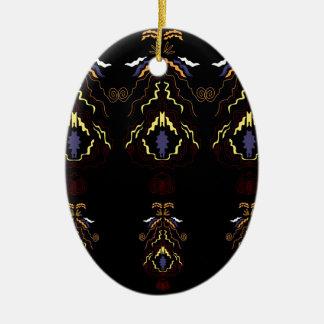 Luxury folk mandalas on black ceramic ornament