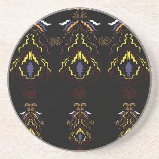 Luxury folk mandalas on black coaster