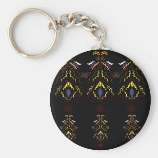 Luxury folk mandalas on black keychain