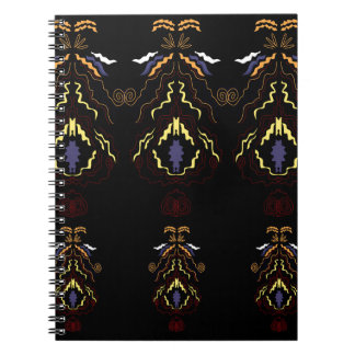 Luxury folk mandalas on black notebook
