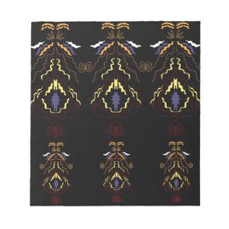 Luxury folk mandalas on black notepad