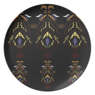 Luxury folk mandalas on black plate