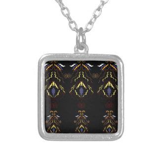 Luxury folk mandalas on black silver plated necklace