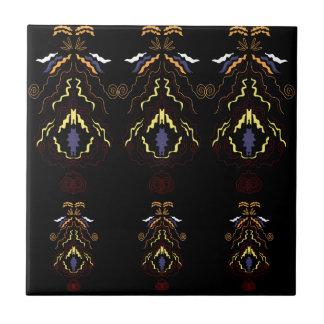 Luxury folk mandalas on black tile