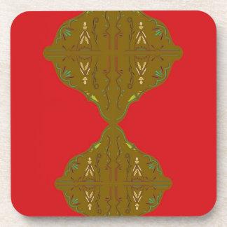 Luxury Folk ornaments brown red Coaster