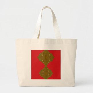 Luxury Folk ornaments brown red Large Tote Bag