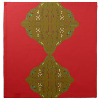 Luxury Folk ornaments brown red Napkin