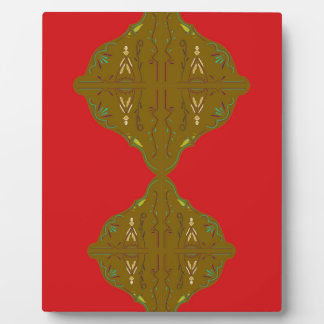 Luxury Folk ornaments brown red Plaque