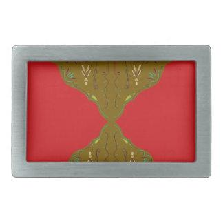 Luxury Folk ornaments brown red Rectangular Belt Buckles