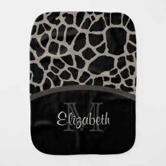 Luxury Giraffe Print Elegant Monogram and Name Burp Cloth