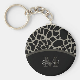 Luxury Giraffe Print Elegant Monogram and Name Keychain