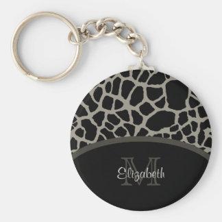 Luxury Giraffe Print Elegant Monogram and Name Keychain