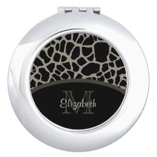 Luxury Giraffe Print Elegant Monogram and Name Vanity Mirror