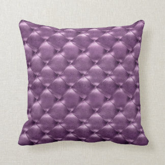 Luxury Glam Tufted Leather Opulent Amethyst Plum Throw Pillow