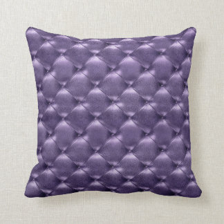 Luxury Glam Tufted Leather Opulent Amethyst Purple Throw Pillow