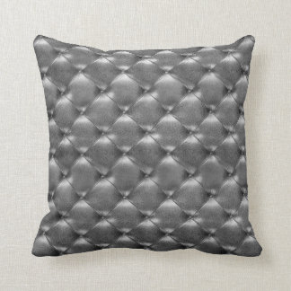 Luxury Glam Tufted Leather Opulent Graphite Gray Throw Pillow
