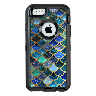 Luxury glitter Blue Teal Mermaid scales OtterBox Defender iPhone Case